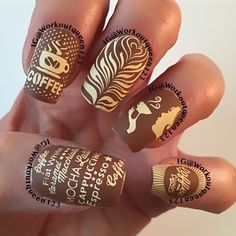 Coffee mani polishes used #opi A-Piers to be Tan, #mundodeunas Pale Rose-50, #stamping plates   used #moyoulondon  IG@workoutqueen123.