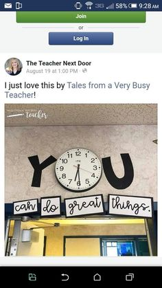 you can do great things clock classroom display Classroom Clock, 5th Grade Classroom, Classroom Walls, Classroom Design, Science Classroom, Kindergarten Classroom, School Classroom, Classroom Themes, Classroom Organization