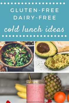 What should you eat for lunch on a gluten-free dairy-free diet? Whether you're heading to an office on the go a lot or need something to pack for your kids' school lunches these gluten-free dairy-free packable cold lunch ideas will help you get inspired. Dairy Free Salads, Dairy Free Snacks, Dairy Free Breakfasts, Dairy Free Recipes, Vegan Recipes, Gluten Free Meal Plan, Free Meal Plans, Gluten Free Lunch Ideas, Cold Lunches