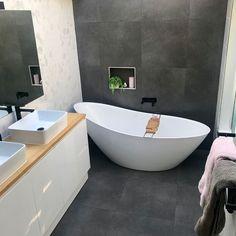 Kosmos Dark Grey and White Marble Hexagon Tile Bathroom Renovation – Modern Grey Marble Bathroom, Hexagon Tile Bathroom, Gray And White Bathroom, Hexagon Tiles, Grey Bathrooms, Bathroom Renos, Bathroom Renovations, Small Bathroom, Grey And White