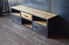 Meuble tv style industriel acier bois - Fabrication artisanale Française - Sur mesure - MICHELI Design