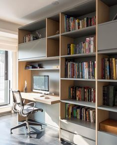 A General Guide To Buying Office Furniture For The Home Office Living Room Bookcase, Living Room Wall Units, Home Office Space, Home Office Design, Study Rooms, Office Interiors, Small Apartments, Built Ins, New Homes