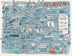 Hi Lilla, Here's little map with some of my favorite spots here in Atlanta for Creative Loafing. Atlanta Map, Visit Atlanta, Atlanta Travel, Atlanta Georgia, Piedmont Park, City Maps, Animal Design, Map Art, City Photo