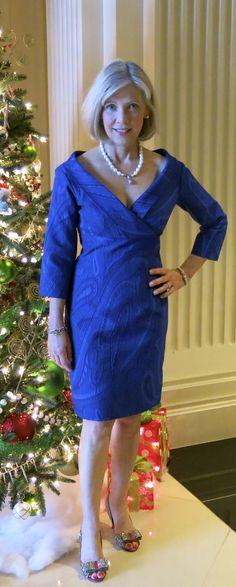 Party dress made with Carolina Herrera blue silk brocade from Mood Fabrics.
