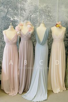 muted color vintage low cut v neck long #chiffon #bridesmaid #dress
