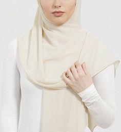 cream soft crepe hijab
