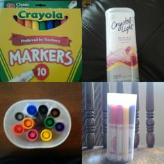 Crystal light container and crayola markers cool idea. I covered the container so that they are pretty! :)