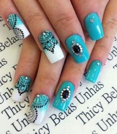 Super Cute Ideas for Summer Nail Art - Nailschick Perfect Nails, Fabulous Nails, Gorgeous Nails, Nail Design Spring, Lace Nails, Pretty Nail Art, Nail Decorations, Manicure And Pedicure, Diy Nails