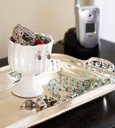 Jewelry tray and container for the end of the day, great on top of a dresser in the closet