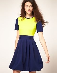 ASOS Skater Dress with Contrast Sleeve - StyleSays