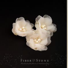 Ivory Bridal Hair Flowers Pure SILK Flower Wedding by FiberStone