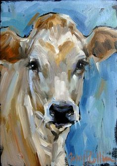 """Elsie"" - oil painting by Amy P. Collins painted one similar Paintings I Love, Animal Paintings, Paintings Of Cows, Oil Paintings, Cow Pictures, Farm Art, Cow Art, Painting & Drawing, Painting Abstract"
