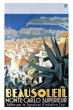MONTE-CARLO vintage travel poster TOURISM superior vacation spot BOLD 24X36 Brand New. 24x36 inches. Will ship in a tube.  Multiple item purchases are combined