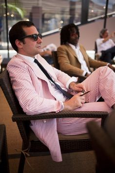 Formal summer event coming up? Why not show your Davidson pride in a red seersucker suit with a black tie