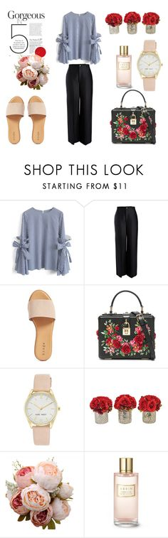 """""""Rose Spring"""" by bohoflover ❤ liked on Polyvore featuring Chicwish, Joseph, Hinge, Dolce&Gabbana, Nine West, The French Bee and Estée Lauder"""