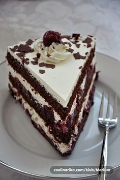 A slice of Kirschtorte. Cake Cookies, Cupcake Cakes, Cheesecake Recipes, Dessert Recipes, Bosnian Recipes, Kolaci I Torte, Torte Cake, Wedding Cake Flavors, Eat Dessert First