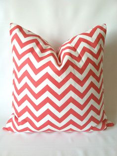 Coral+Chevron+Euro+Sham+Pillow+Covers++Set+of+Two+by+PillowStyles,+$44.00