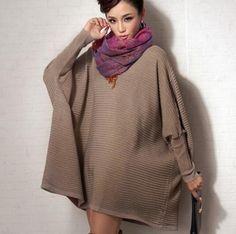 oversize batwing sleeve sweater for women long crew neck sweater winter wear
