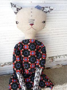 Muñeca gata de lino y algodón con pelo de alpaca y seda de AntonAntonThings en Etsy