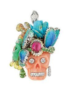 "Skulled jewelry, pirate touch - platinum, diamonds, coral, tsavorite garnets, peridots, rubellite, tourmalines, chrysoprase opals - Dior ""Coffret de Victoire"" pendant from ""L'écrin de Victoire"" collection, 2010 - created by Victoire de Castellane for Dior Fine Jewelry"