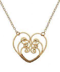 wire heart pendant idea ~ Calico Juno Hammered Heart Necklace