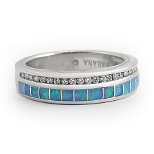 """Opal River"" Diamond and Opal Wedding Band- hubby's birthstone stacker"