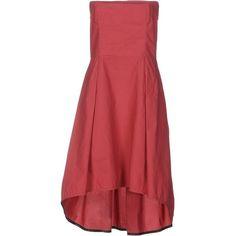 Manila Grace Knee-length Dress ($155) ❤ liked on Polyvore featuring dresses, garnet, red knee length dress, no sleeve dress, deep v-neck dress, knee high dresses and red sleeveless dress