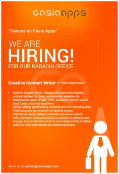 Career Apply for the jobs and build your career in Casia Apps Digital Footprint, We Are Hiring, Looking For Someone, Social Media Content, White Paper, High Level, Digital Marketing, Writer