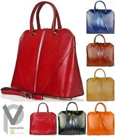 Vera Pelle Echt Leder Shopper 35cm  Handtasche Schultertasche Henkeltasche