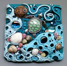 Tutorial for Tide Pool Sun Catcher Mosaic Tile, PDF Tutorial, Nightlight, Found Object Art Tile - Crafts Polymer Clay Kunst, Polymer Clay Projects, Polymer Clay Creations, Polymer Clay Jewelry, Tile Art, Mosaic Art, Mosaic Tiles, Mosaics, Clay Tiles