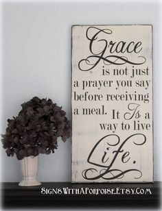 Grace is a Way to Live Life Bible Verse Scripture Hand Painted Distressed Wood Sign, Typography Word Art, Black White Vintage Style, Shabby