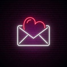 Illustration about Glowing neon envelope with a heart. Illustration of love, fluorescent, celebration - 169294192 Pink Neon Wallpaper, Heart Wallpaper, Neon Symbol, Pink Neon Sign, Whatsapp Logo, Neon Licht, Iphone Logo, Neon Quotes, Neon Words
