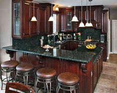 Fall Inspired kitchen remodels- deep cherry wood, warm maple wood, and rustic green granite Kitchen Paint, Kitchen Redo, Rustic Kitchen, Kitchen Remodel, Kitchen Ideas, Kitchen Walls, Kitchen Cupboard, Kitchen Dining, Refacing Kitchen Cabinets