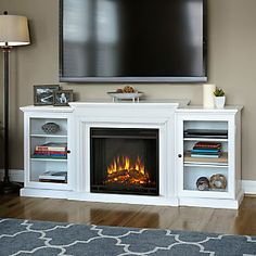 Real Flame Frederick TV Stand with Electric Fireplace; White