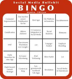 Social Media Bullshit Bingo - Kunden-Edition Bingo, Marketing, Bullshit, Social Media, Facebook, Hair Styles, Running Away, Mathematical Analysis, Target Audience