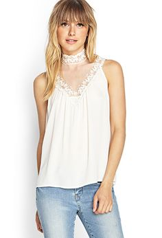 High-Neck Lace Top | FOREVER21 - 2000107790