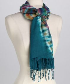 Take a look at this Turquoise Tie-Dye Scarf by Bruges on #zulily today!