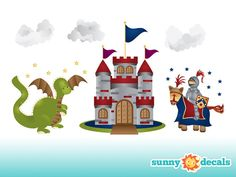 Jumbo Castle & Knight Fabric Wall Decals, Castle, Dragon, Knight Theme Wall Stickers and Decor for Boys room and Nursery by Sunny Decals