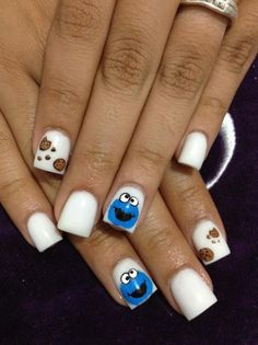 Cookie Monster - Nail Art Gallery Nailartgallery Nailsmag By Nailsmag Hot Nails, Hair And Nails, Gorgeous Nails, Pretty Nails, Cookie Monster Nails, Nail Art Hacks, Nail Art Galleries, Creative Nails, Cookies Et Biscuits