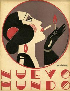 Print of Nuevo Mundo 1923 Spain cc magazines women art deco portraits womens Retro Poster, Poster S, Vintage Posters, Vintage Art, Vintage Graphic, Vintage Typography, Vintage Photos, Art Deco Illustration, Illustrations