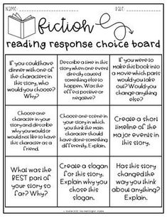 Choice boards are a great resource to differentiate according to student interest/learning preference with reading a fiction text. See textbook pg. Reading Response Journals, Reading Response Activities, Reading Intervention, Reading Lessons, Reading Strategies, Reading Skills, Teaching Reading, Reading Centers, Reading Comprehension