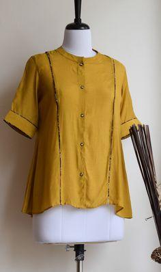 Cotton Tops For Jeans, Lengha Blouse Designs, Saree Blouse, Kalamkari Fabric, Western Tops, Short Tops, Cotton Silk, Front Button, Mustard