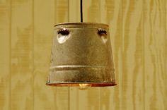 Hanging Industrial Pendant Light - Chick or Quail Feeder Galvanized Bucket