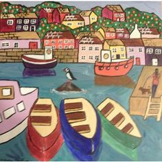 Naive painting of Polperro with colourful boats