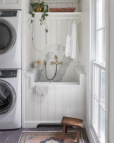 Laundry Room Sink, Laundry Room Design, Garage Laundry, Laundry Decor, Laundry Closet, Small Laundry, Custom Home Builders, Custom Homes, Outdoor Laundry Rooms