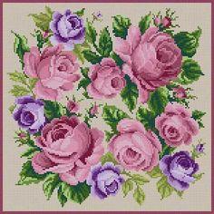 Roses Mauve Susan Treglown mesh: 13:1 dimension: 12 x 12