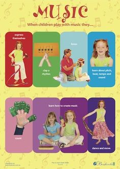 EYLF Practice - Learning through Play. Music poster from Play to Learn Series.