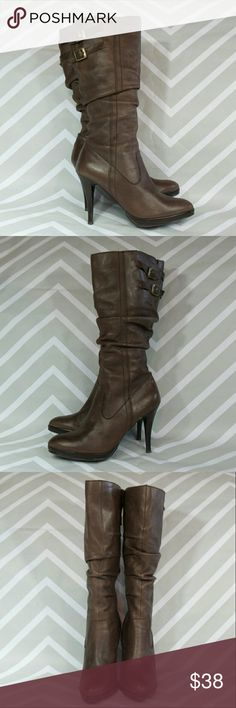 """Bakers Zena leather scrunch boots Supple leather scrunch boots with inside zip. This type of leather tends to rub and scuff easily, but these are still an fabulous pair of boots.                                           4"""" heel with 0.5"""" platform.                                              No trades. Bakers Shoes Heeled Boots"""