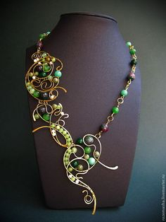 Купить Колье Ручей Ундины - колье, комплект, зеленое, подарок, женщине, девушке, фэнтезийное, модерн