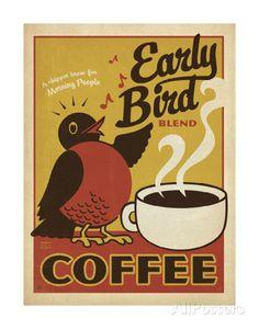 Early Bird Blend Coffee Schilderij van Anderson Design Group bij AllPosters.nl